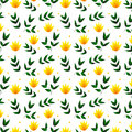 Spring yellow flowers with leaves in seamless pattern