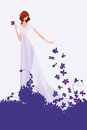 Spring young woman violets a color vector illustration of a pretty in a long light colored dress she is overspread on a ground can Stock Image
