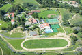 Springtime aerial view of villanova prep school with track pool baseball diamond tennis courts and campus in view ojai ca Royalty Free Stock Image