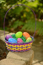 Springtime basket spring or easter with colorful eggs Royalty Free Stock Photos