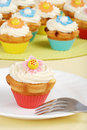 Springtime flower cupcakes Stock Photo