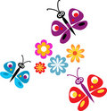 Springtime flowers and butterflies
