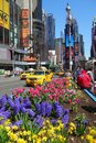 Springtime in new york times square midtown manhattan on a sunny spring day Stock Photo