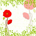 Springtime red poppy on green background greeting card Stock Photo
