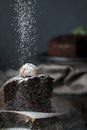 Sprinkling of dark chocolate cake with powdered sugar Royalty Free Stock Photo