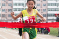 Sprint baixiang county hebei province china may student games track race finish athletes strive first toward the finish line Royalty Free Stock Image
