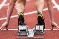 Sprint start in track and field Royalty Free Stock Photos