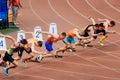 sprinters runners men start running 100 metres