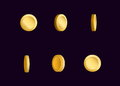 Sprite sheet effect animation of a spinning golden coin sparkling and rotating. For video effects, game development.