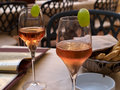 Spritz aperitif in italy served with grissini a restaurant venice Royalty Free Stock Images