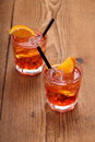Spritz aperitif two orange cocktail with ice cubes top view Stock Photography