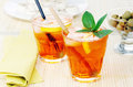 Spritz cocktail two italian long drink Stock Photos