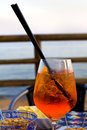 Spritz traditional italian cocktail against taormina sicily italy Stock Photo