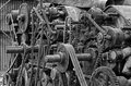 Sprockets and belts an old felt making machine Royalty Free Stock Image