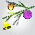 Spruce branch with christmas decoration Stock Photos