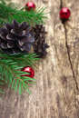 Spruce branches with cones and red beads Stock Photography