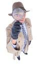 Spy looking through magnifier on white background Stock Photo