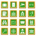 Spy tools icons set green