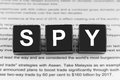 Spy word on black block Stock Images