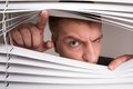 Spying a young man looking through window blinds Stock Photography