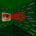 Spyware eye scanning binary code Royalty Free Stock Photo