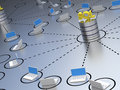Sql database within a network located containing laptops Royalty Free Stock Images