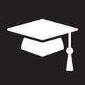 Square academic cap, graduation hat icon, vector illustration.