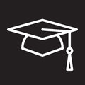 Square academic cap, graduation hat line icon, white outline sign, vector illustration.
