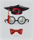Square academic cap, mortarboard, glasses and bow tie. Vector icon set
