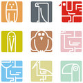 Square animal icons Stock Photo