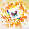 Square background with butterflies Royalty Free Stock Photography