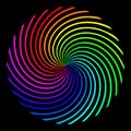 Square background in the form of a colored rainbow spiral