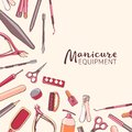 Square background with manicure equipment. Hand drawn banner wit Royalty Free Stock Photo