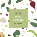 Square Banner of iron rich food sources for vegans. Story template with various sources of iron. Background pattern with Royalty Free Stock Photo