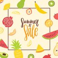 Square banner template for Summer Sale decorated by natural organic tropical exotic juicy fruits. Modern vector