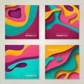 Square banner templates with paper cut shapes