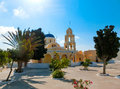 Square with beautiful church in the village of Oia, Santorini Royalty Free Stock Photo