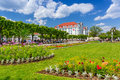 Square with beautiful gardens at the sopot molo poland june on june is major health and tourist resort destination and Stock Image