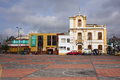 Square behind the train station of riobamba ecuador february with view onto buildings calle juan lavalle Stock Photos
