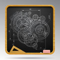 Square blackboard with chalk drawing of gear wheels Royalty Free Stock Photo