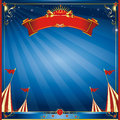 Square blue night circus invitation a curcus for you Stock Images