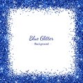 Square border frame with blue glitter on white background. Vector Royalty Free Stock Photo
