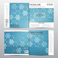 Square brochure template with molecular structure. Geometric abstract background. Medicine, science, technology. Vector Royalty Free Stock Photo