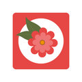 Square button with bloom and leaves