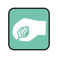 Square button with closed hand icon