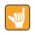 Square button with open hand in shaka signal