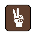Square button with open hand in victory signal