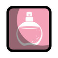 Square button with rounded glass bottle spray fragrance