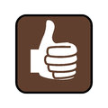 Square button with Thumb up icon