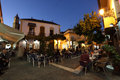Square with cafes in Estepona, Spain Stock Photos